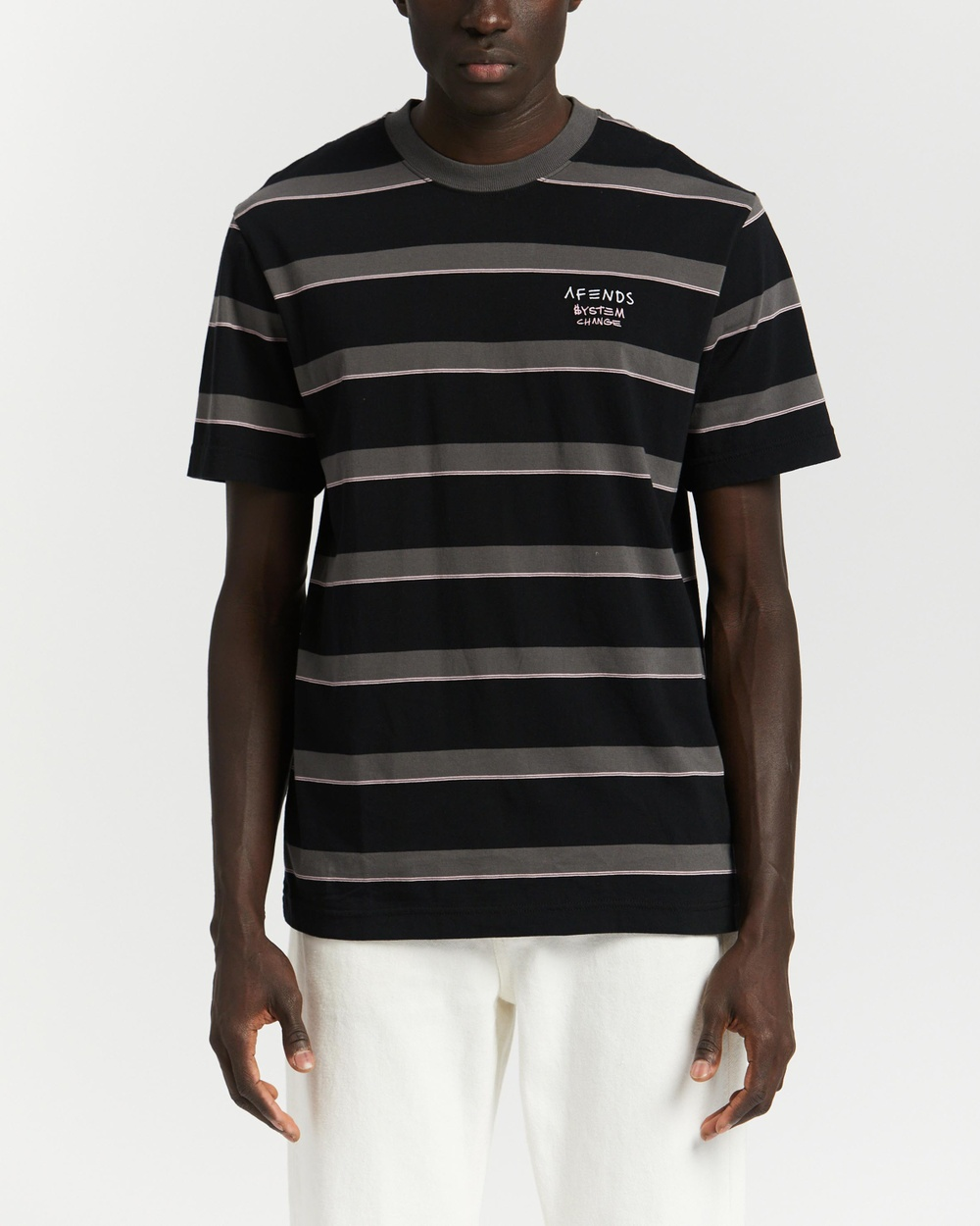 Afends - Fight Stripe Retro Fit Tee - T-Shirts & Singlets (Black) Fight Stripe Retro Fit Tee