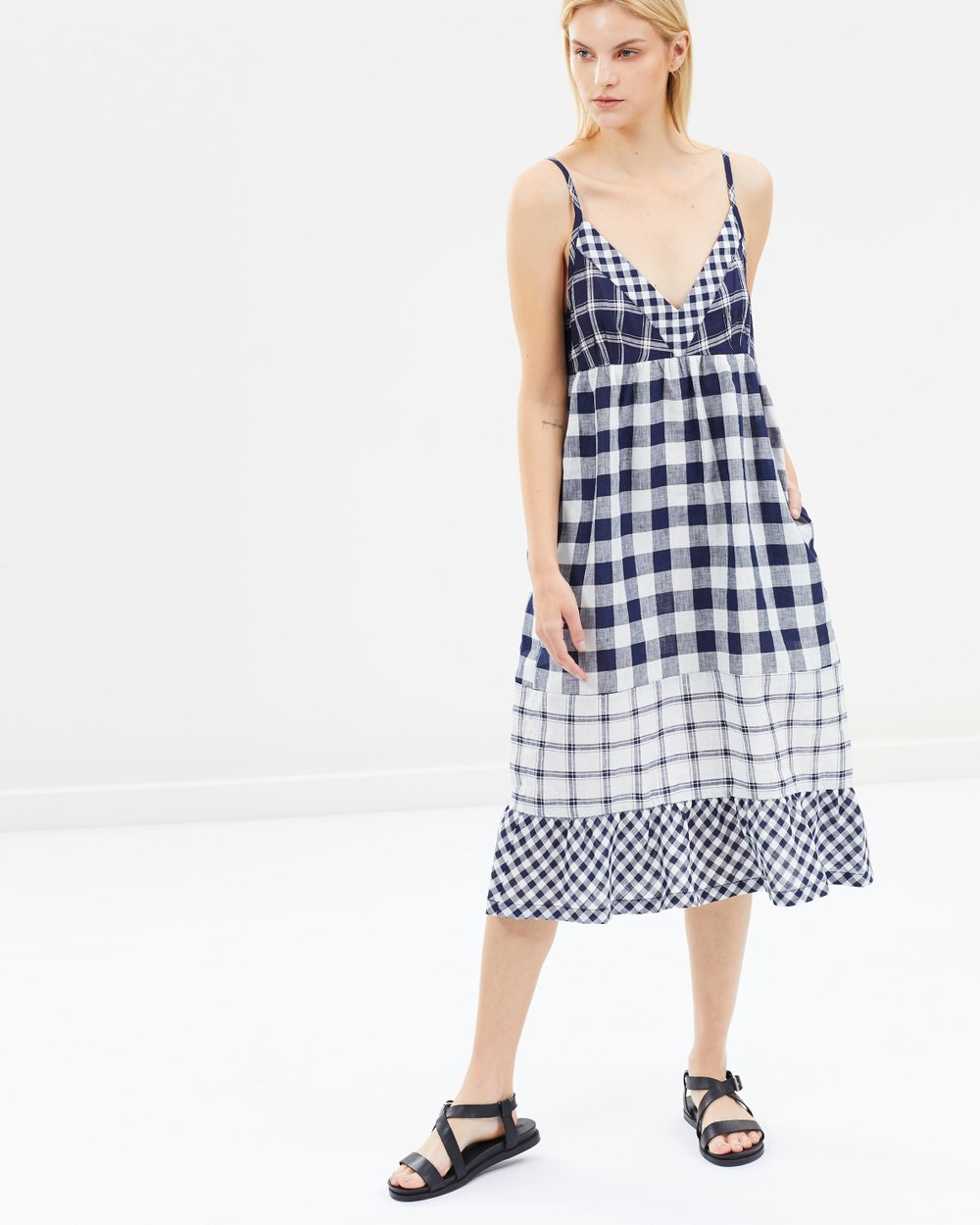 3896d892338 Nellie Checked Linen Tunic Dress by Lee Mathews Online