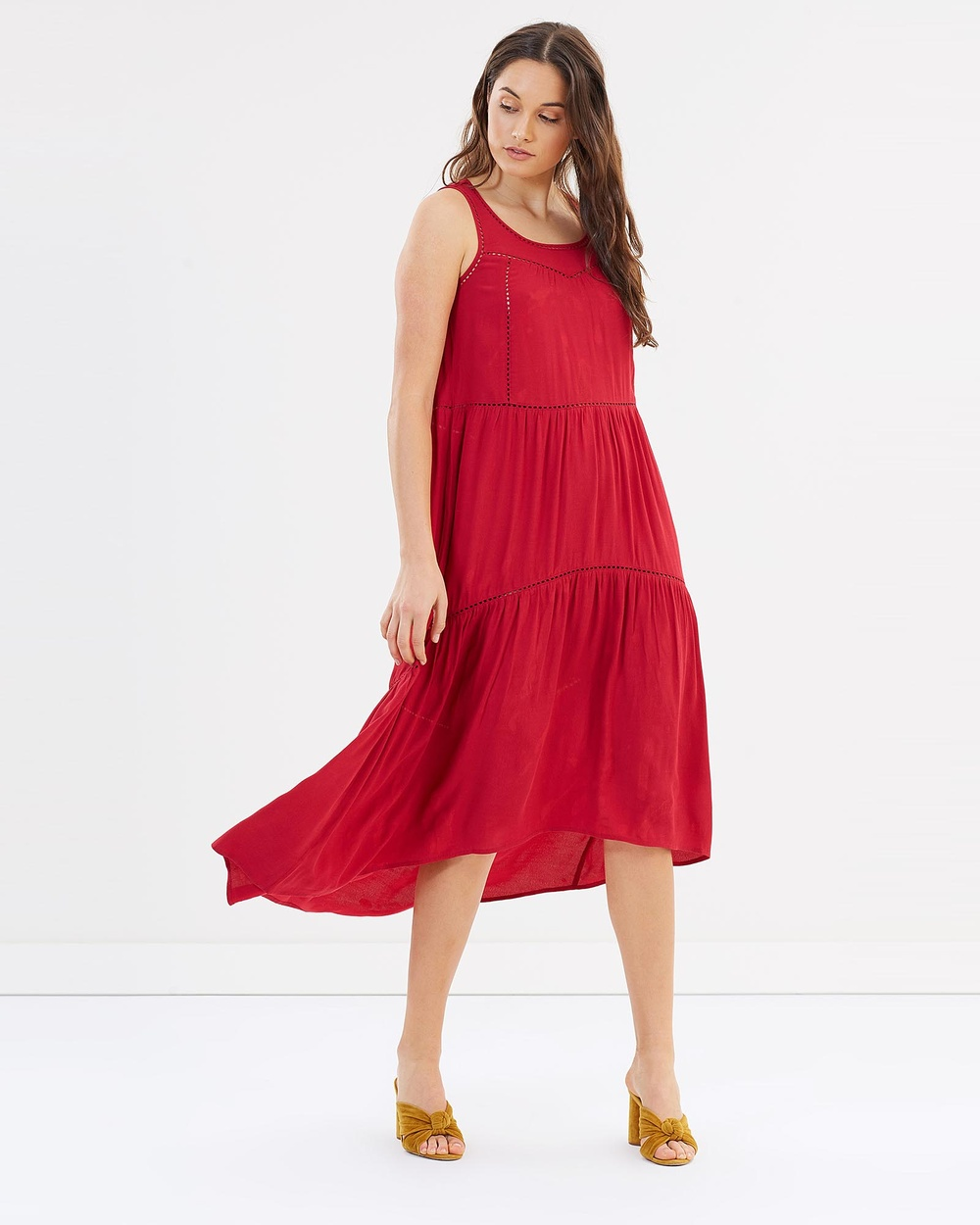 Jag Naya Sleeveless Maxi Dress Dresses Red Naya Sleeveless Maxi Dress