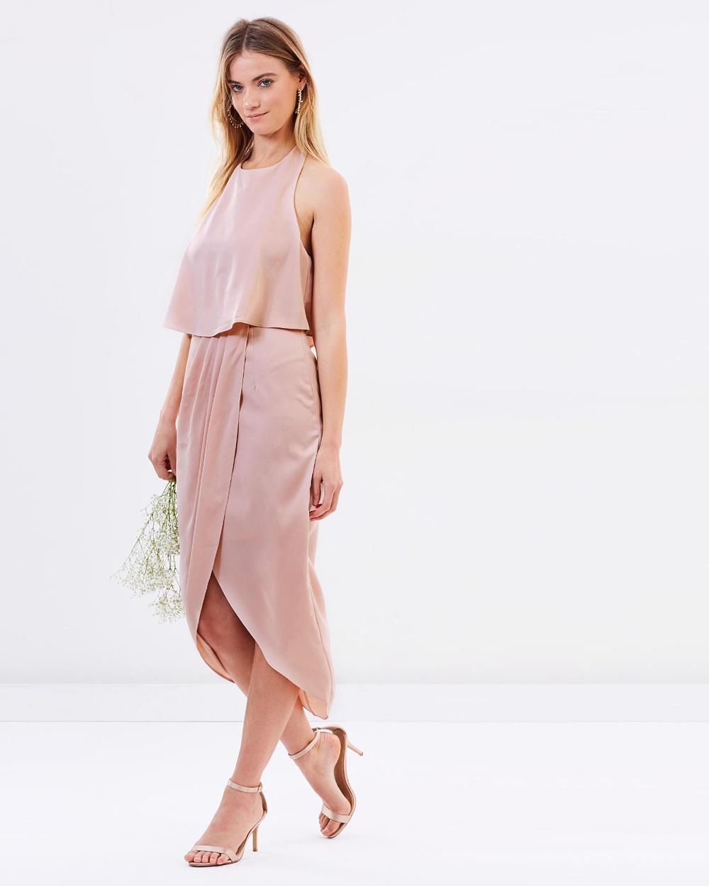 Atmos & Here ICONIC EXCLUSIVE Allie Midi Dress Bridesmaid Dresses Nude Pink ICONIC EXCLUSIVE Allie Midi Dress