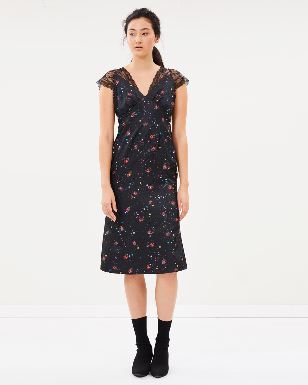 Romance Was Born Lady Beetle Bias Dress Printed Dresses Black & Red Lady Beetle Bias Dress