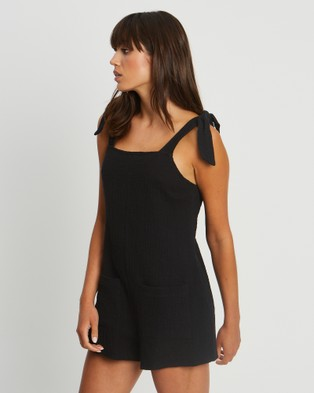 The Fated Willow Playsuit - Jumpsuits & Playsuits (Black)