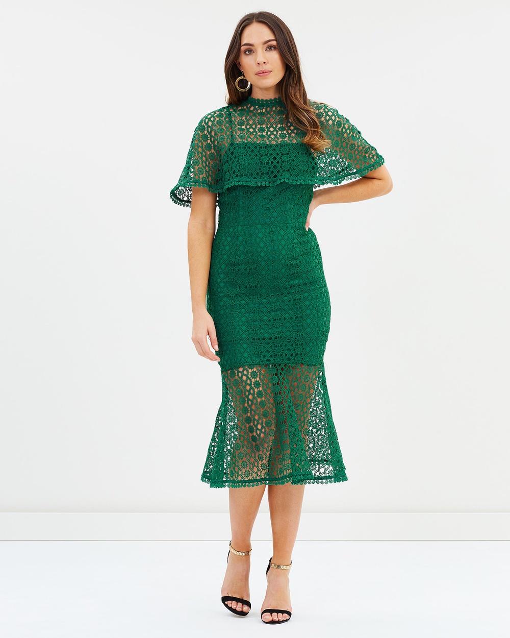Grace & Hart Pine Dentelle Midi Dress