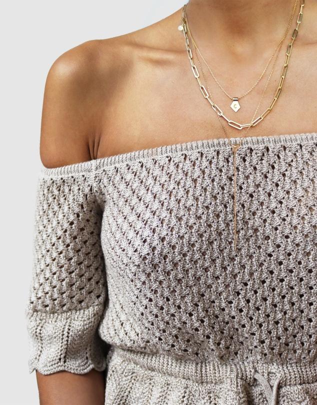 Women Letter T Pendant Necklace Silver