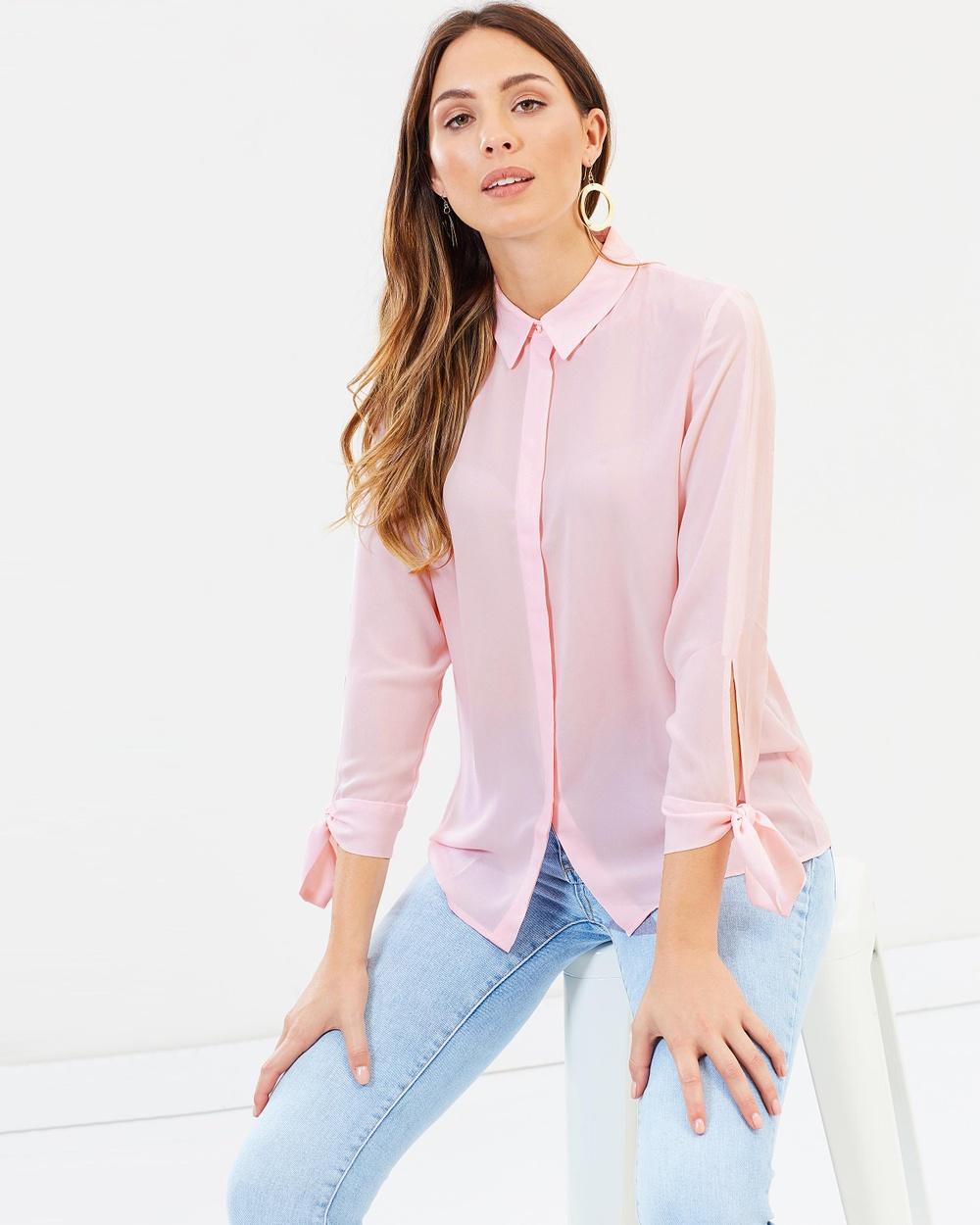 M.N.G Basicpre Shirt Tops Pink Basicpre Shirt