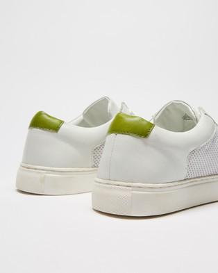 Double Oak Mills Garros Leather Sneakers - Sneakers (White & Green)