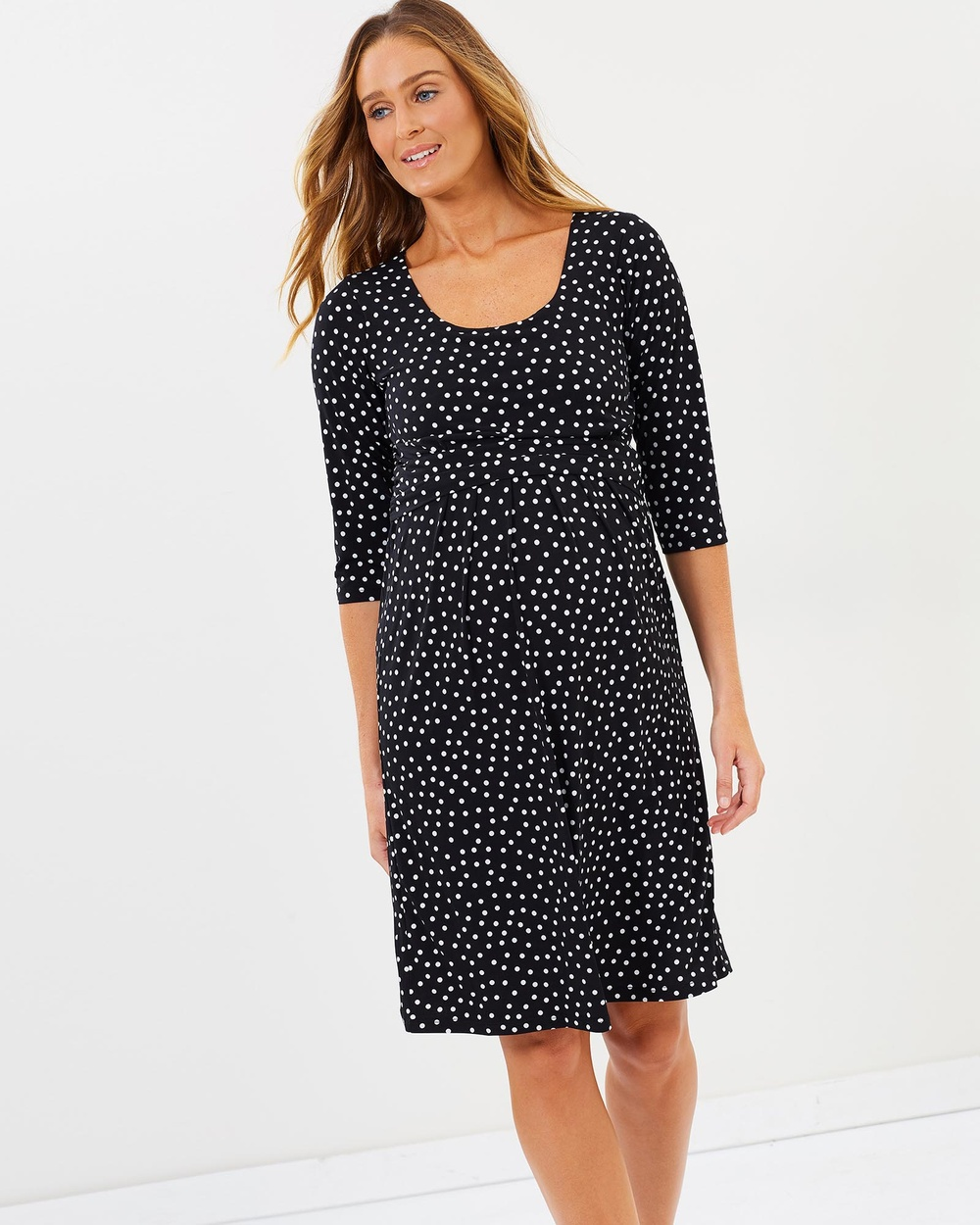 Angel Maternity Maternity Busy Mummy Nursing Dress in Dots Printed Dresses Black Maternity Busy Mummy Nursing Dress in Dots