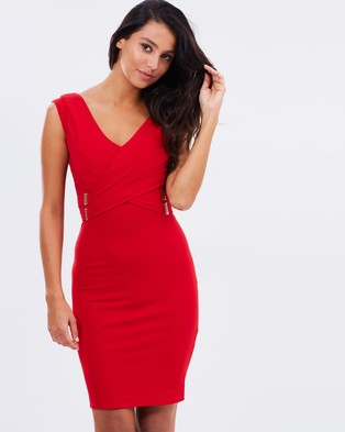 Lipsy – Cap Sleeve V Neck Body Con Dress – Bodycon Dresses (Red)