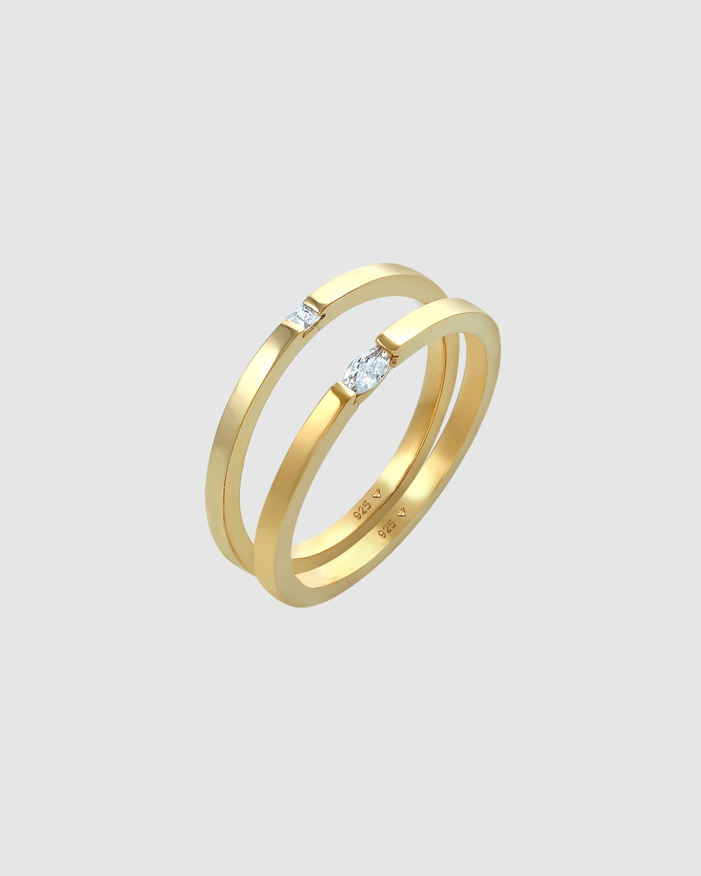 Elli Jewelry Ring Solitaire Classic Set of 2 with Zirconia Crystals in 925 Sterling Silver Gold Plated Jewellery white