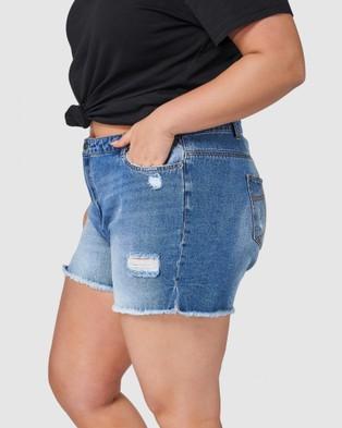 Indigo Tonic Paige Ripped Denim Shorts - Denim (Blue)