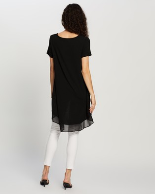 Atmos&Here Katherine High Low Jersey Top - Tops (Black)
