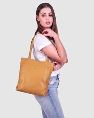 BEE The Magenta Tan Tote Bag Handbags Tan