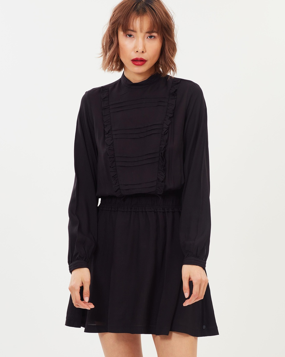 Maison Scotch LS High Neck Dress with Pintuck and Ruffle Details Dresses Black LS High Neck Dress with Pintuck and Ruffle Details