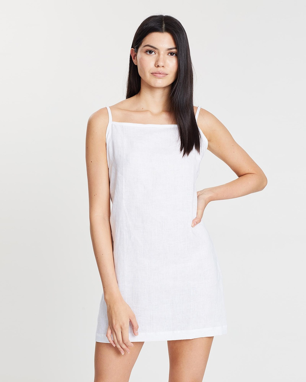 Arthur Apparel Bright White Linen Chemise