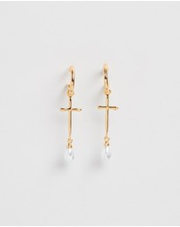F + H JEWELLERY - Roadhouse Cross Drop Earrings