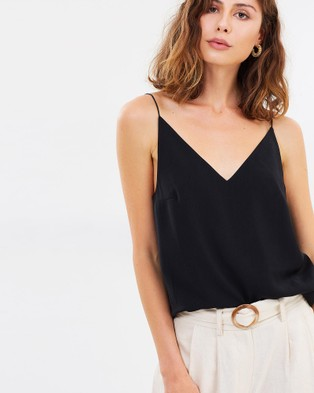 FRIEND of AUDREY Brea V Neck Singlet Top - Tops (Black)