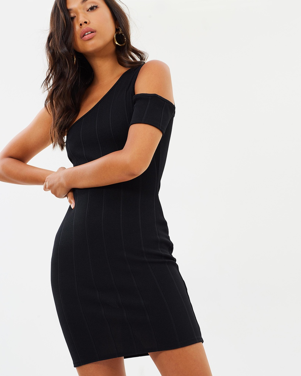 Missguided Bandage One Shoulder Cut Out Body Con Dress Bodycon Dresses Black Bandage One-Shoulder Cut-Out Body-Con Dress