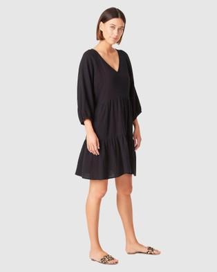French Connection Cotton Crinkle V Neck Dress - Dresses (BLACK)