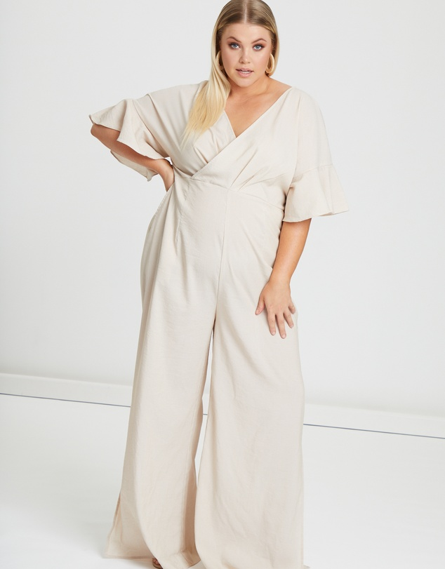 65b65b943c30 Dime Frill Sleeve Jumpsuit by Atmos Here Curvy Online