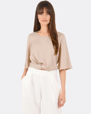 Forcast – Narelle Wrap Top Taupe