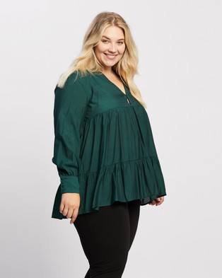 Atmos&Here Curvy Catalina Swing Blouse Tops (Teal)