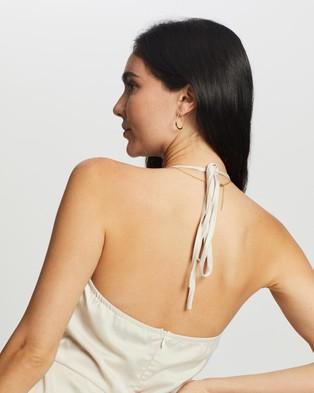 Missguided Tie Neck Ruched Bias Cut Midi Dress - Dresses (Stone)