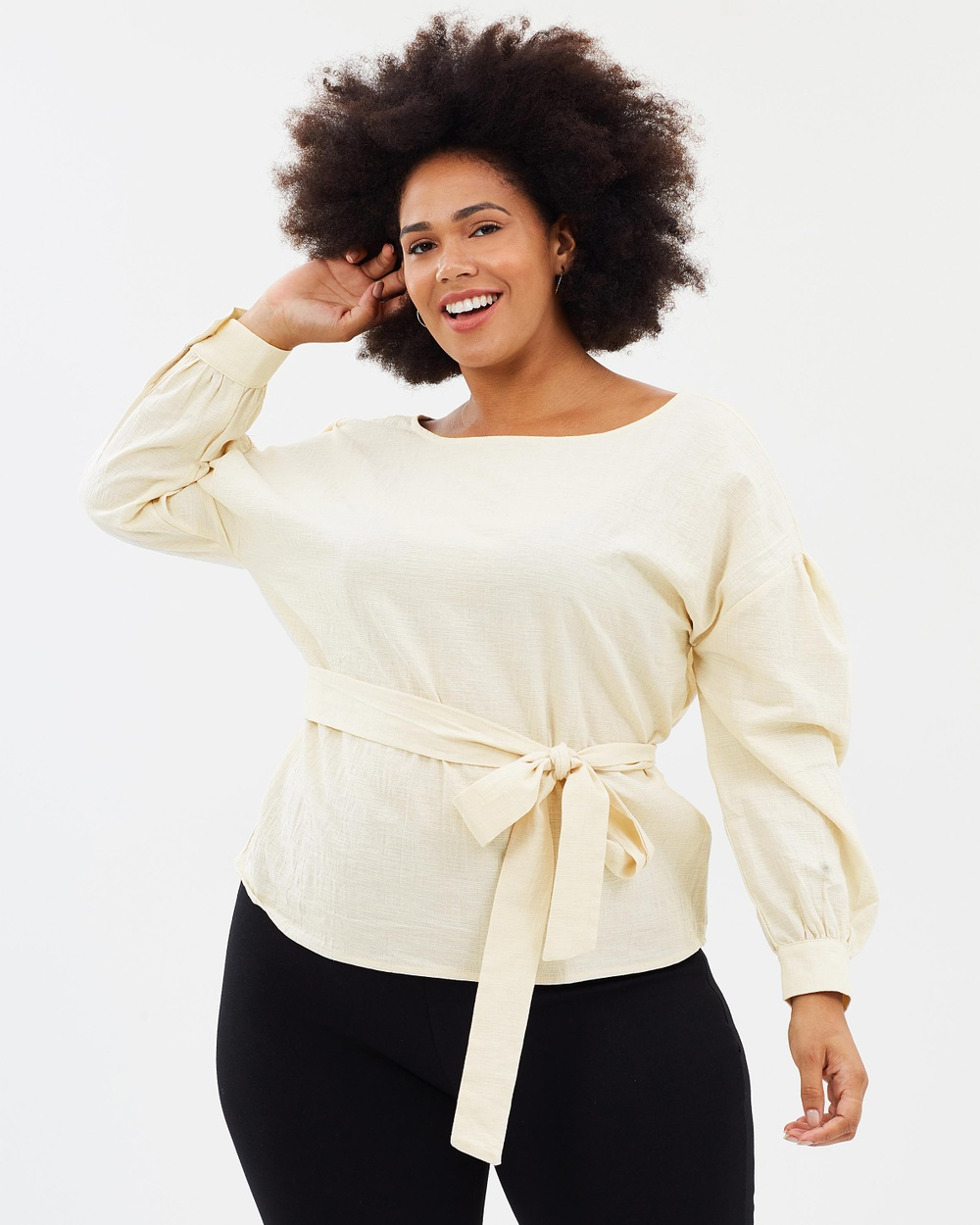 Atmos & Here Curvy ICONIC EXCLUSIVE Aicha Cotton Waist Tie Top Tops Oatmeal ICONIC EXCLUSIVE Aicha Cotton Waist Tie Top