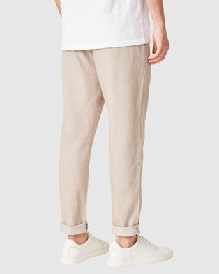 French Connection Linen Blend Pants - Pants (OATMEAL MEL)
