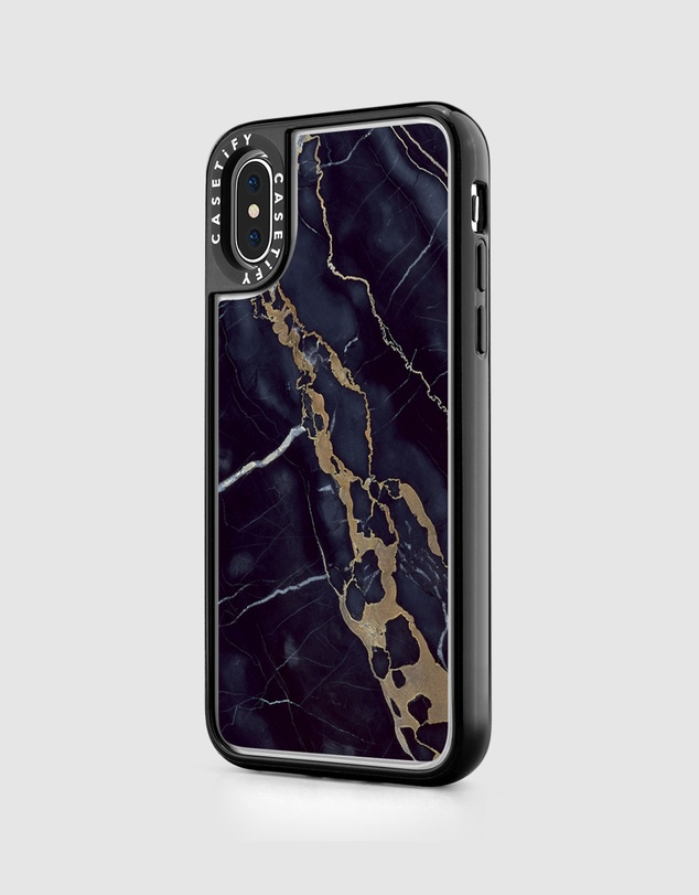 Casetify - Navy Shatter Marble Classic Grip Case for iPhone XS/ iPhone X