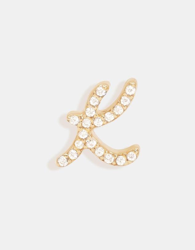 Women 14K Gold Diamond Love Letter K Single Earring