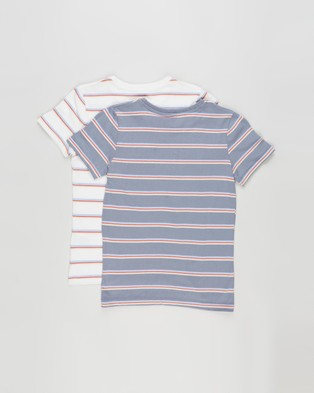 Cotton On Kids Core Short Sleeve Tee 2 Pack   Kids Teens - T-Shirts & Singlets (Steel Rainbow Stripe & Vanilla Rainbow Stripe)