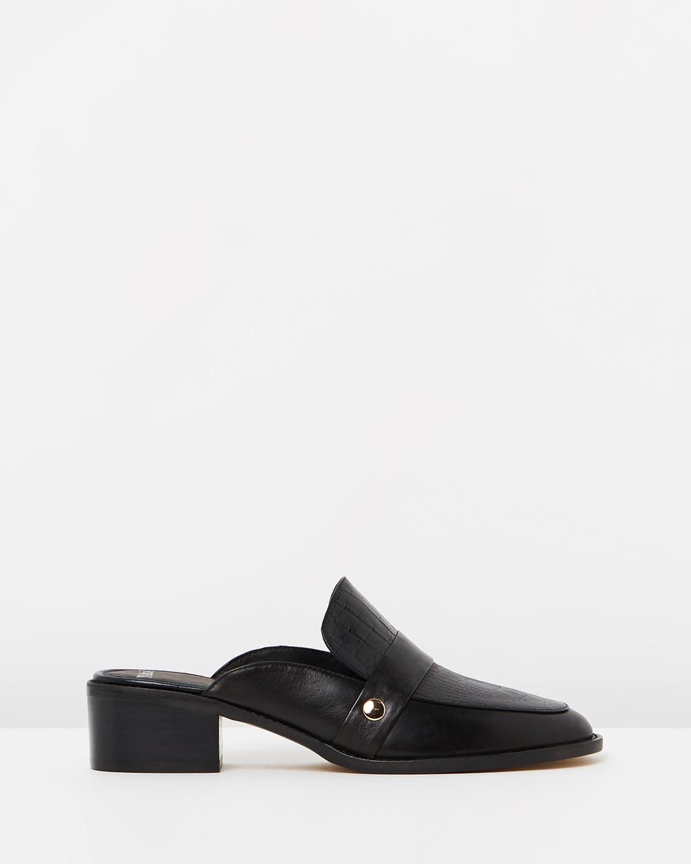 Mollini Argenta Mid-low heels Black Leather Croc Argenta