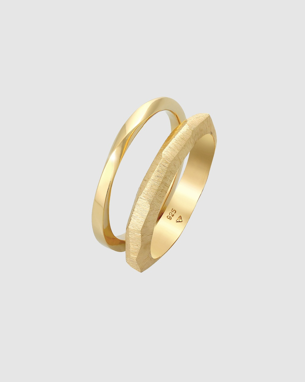 Elli Jewelry Ring Band Basic Twisted Structure Set of 2 in 925 Sterling Silver Jewellery Gold