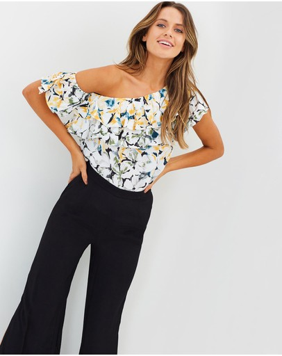 White By Ftl Noni Top Painterly Floral