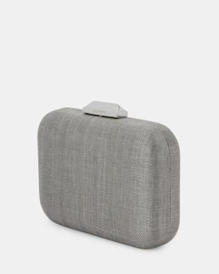 Olga Berg Hailey Subtle Metallic Woven Clutch - Handbags (Grey)