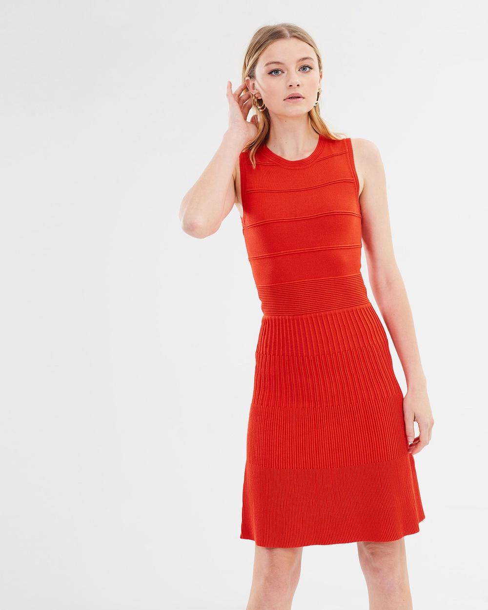 Warehouse Stitch Flippy Dress Dresses Bright Red Stitch Flippy Dress