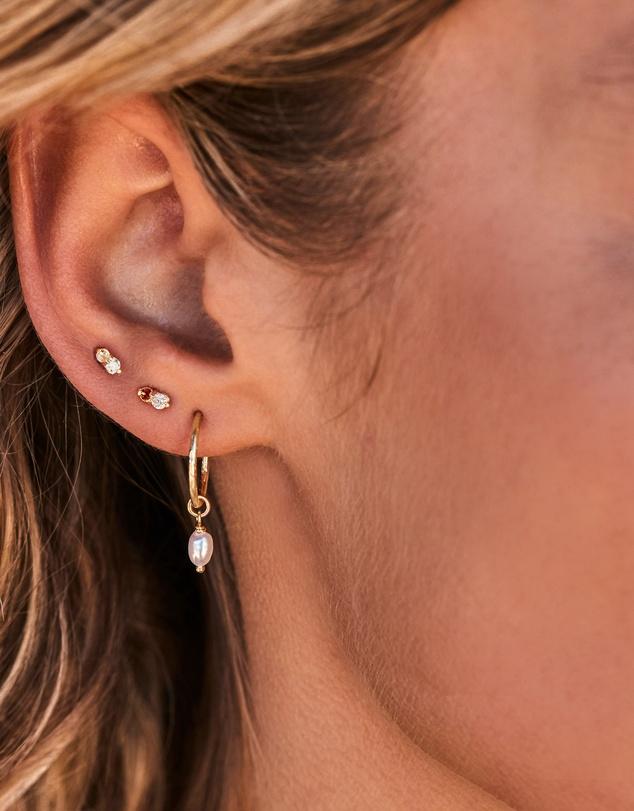 Women Eternal Peace Gold Hoop Earrings with Fresh Water Pearl