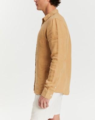 AERE - LS Linen Shirt - Shirts & Polos (Amber) LS Linen Shirt