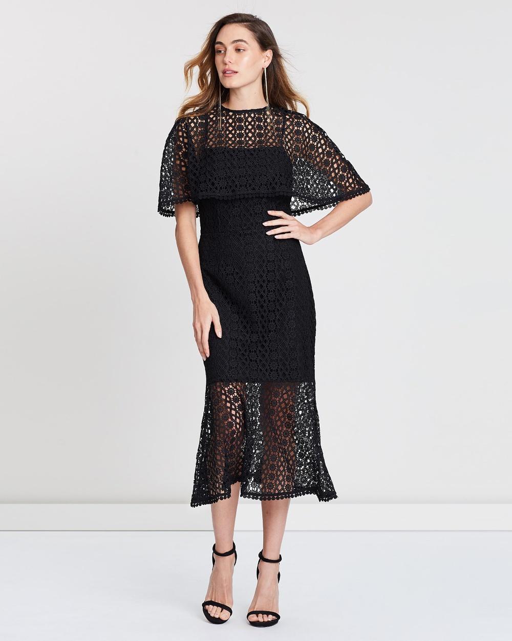 Grace & Hart Black Dentelle Midi Dress