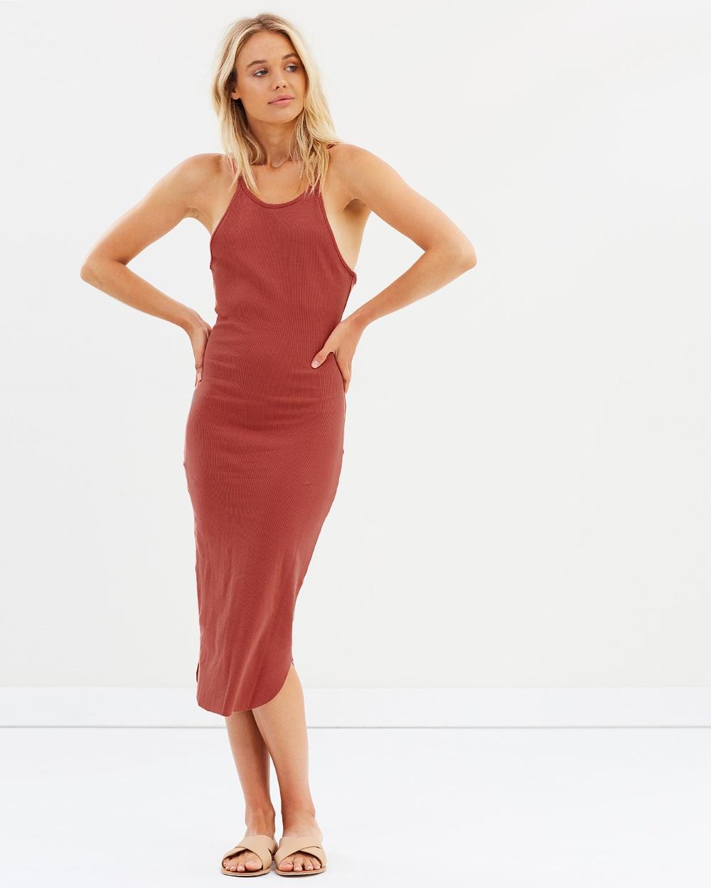 Nude Lucy Presley Rib Dress Dresses Rust Presley Rib Dress