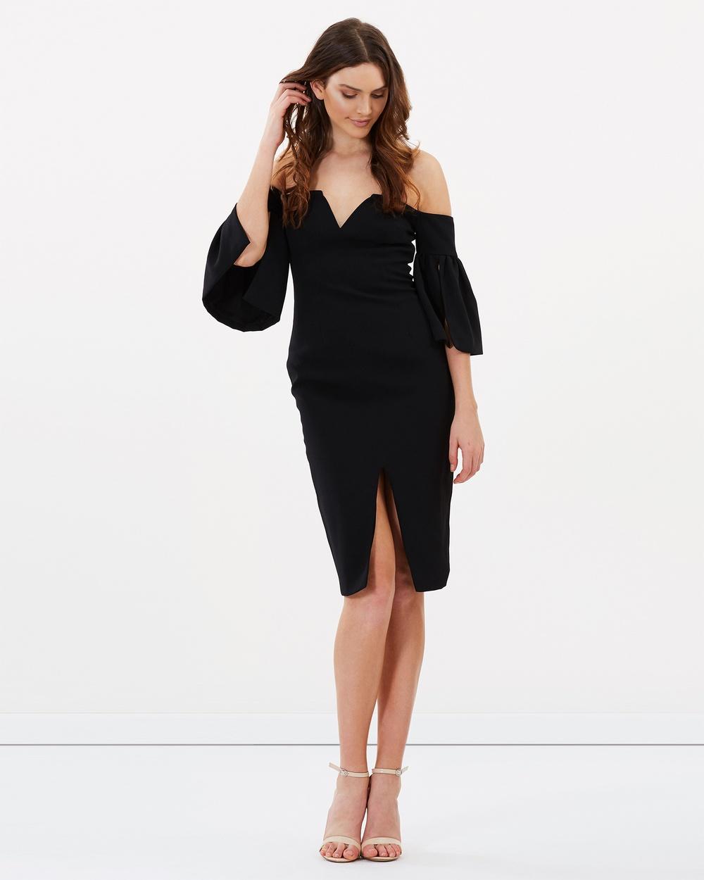 SANTINA-NICOLE Aurora Sheer V Dress Dresses Black Aurora Sheer V Dress