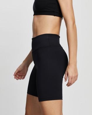 AVE Activewoman Flatlock Seam High Waist Biker Shorts - Sports Tights (Black)