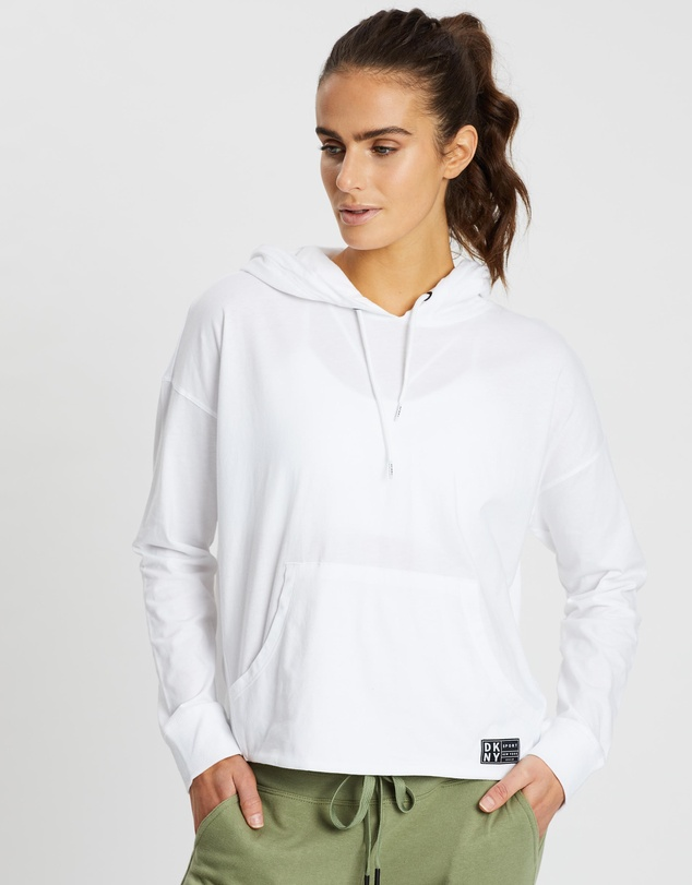 DKNY - Logo Patch Hoodie With Kangaroo Pocket