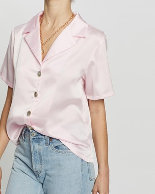 Dazie Serene Button Up Shirt - Tops (Pink)