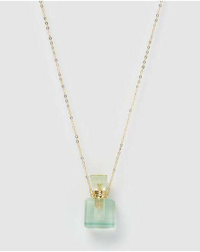 Miz Casa And Co Enchant Stone Perfume Bottle Necklace Jade Gold