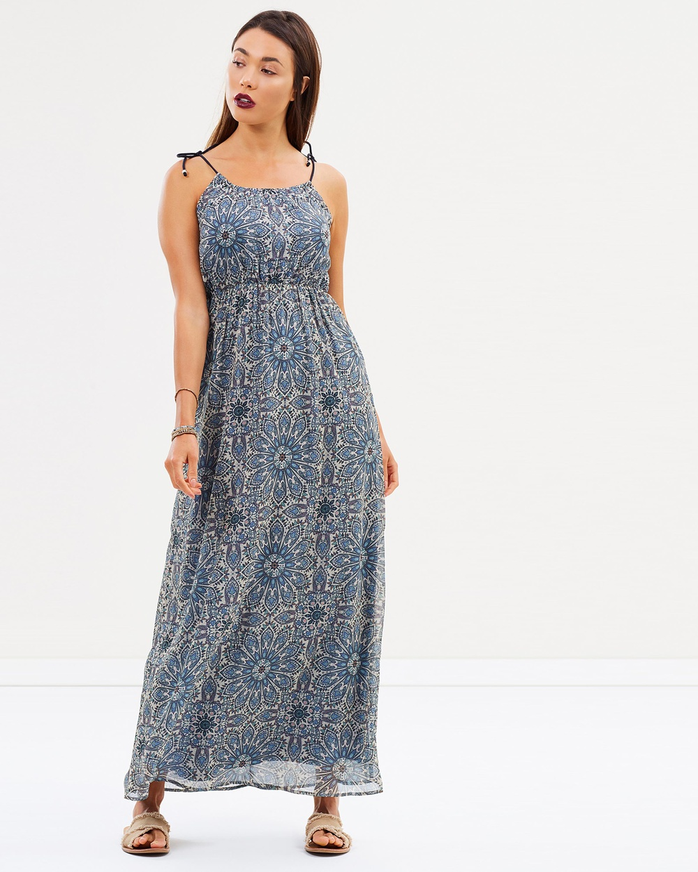 ONLY Laura Woven Maxi Dress Printed Dresses Peyote Laura Woven Maxi Dress