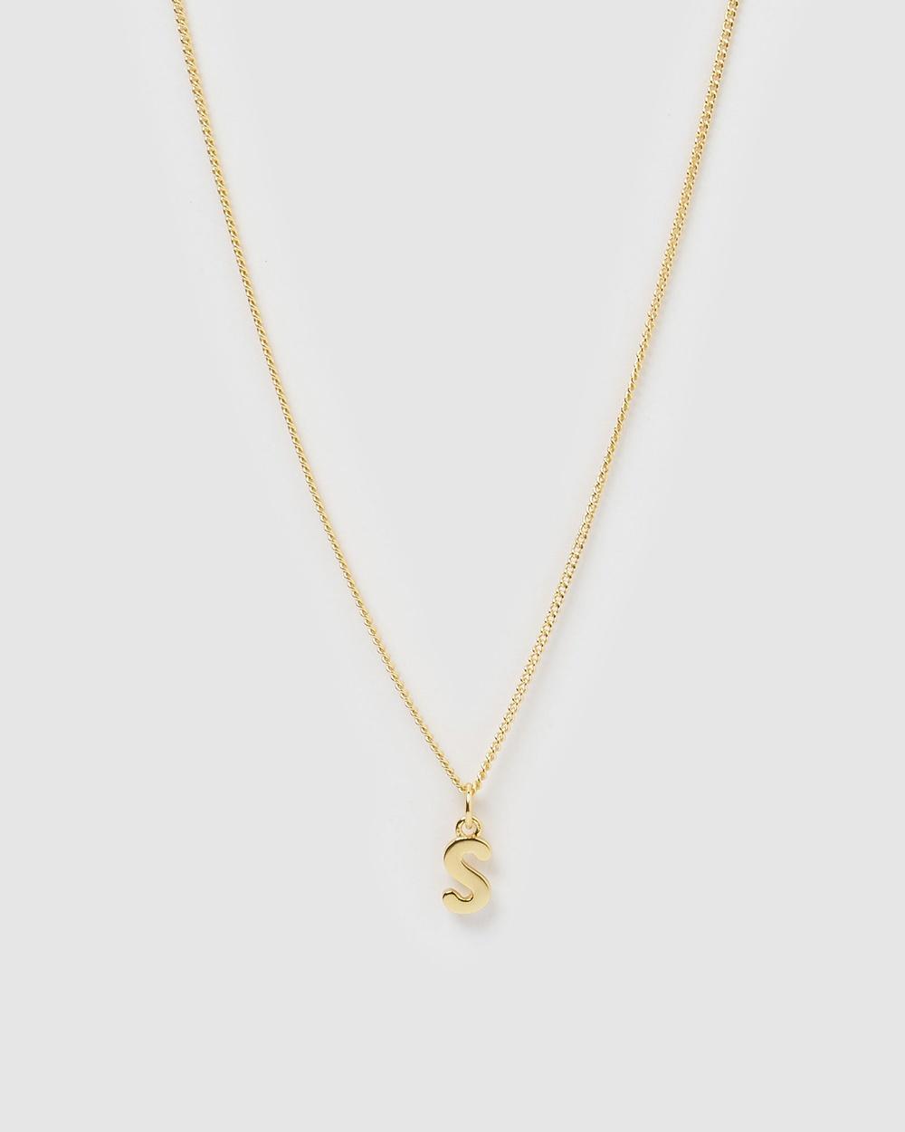 Izoa Alphabet Letter S Necklace Jewellery Gold