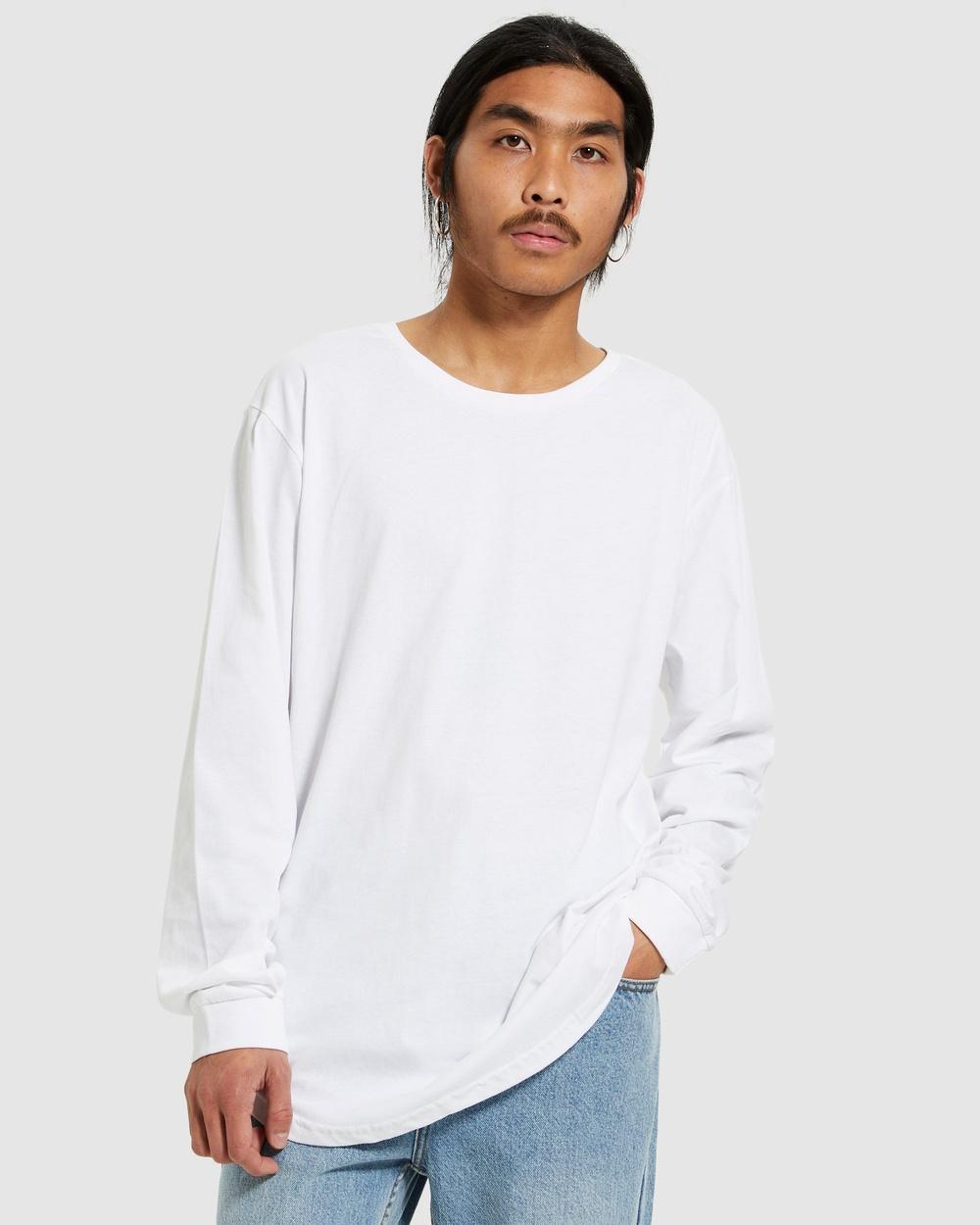General Pants Co. Basics Long Sleeve Curved Hem T Shirt T-Shirts WHITE T-Shirt