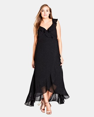 City Chic – Ruffled Wrap Maxi Dress Black