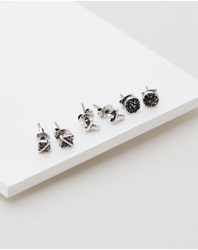 Icon Brand Cross It Off Stud Pack Silver